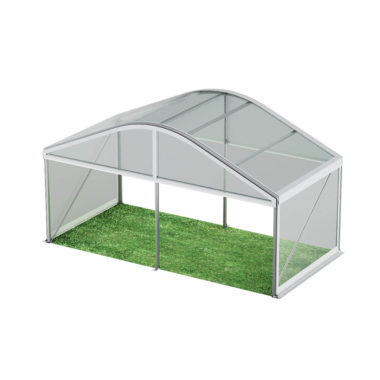 6m Wide Curved Clear Roof Pavilion 6m x 3m