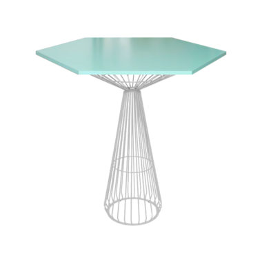 Hex Bar Table Mint/ White