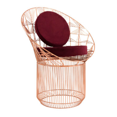 Marilu Peacock Chair Copper/Velvet Beetroot