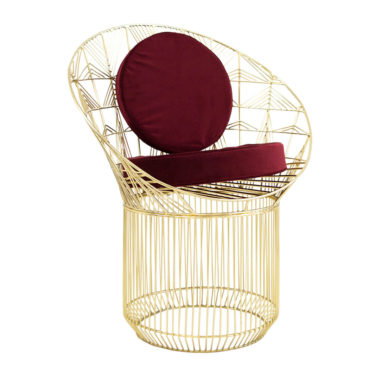 Marilu Peacock Chair Gold/Velvet Beetroot