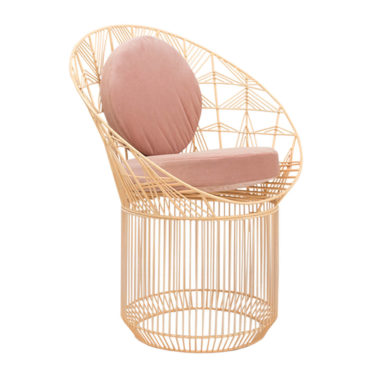 Marilu Peacock Chair Peachy Pink/Velvet Blush Pink